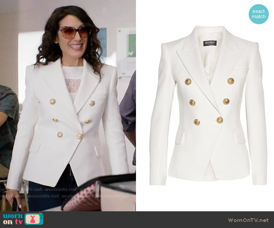 Balmain Double-breasted basketweave cotton blazer worn by Abby McCarthy (Lisa Edelstein) on GG2D