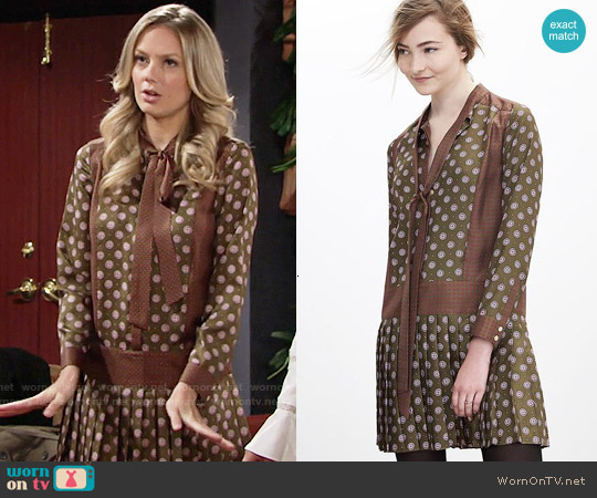 Banana Republic Foulard Silk Bow Dress worn by Abby Newman (Melissa Ordway) on The Young & the Restless