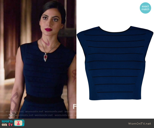 Blue Salsah Ottoman Knit Crop Top by Ted Baker worn by Emeraude Toubia  on Shadowhunters