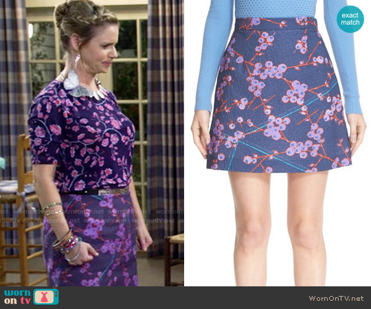 Carven Floral Print A-Line Skirt worn by Kimmy Gibbler on Fuller House