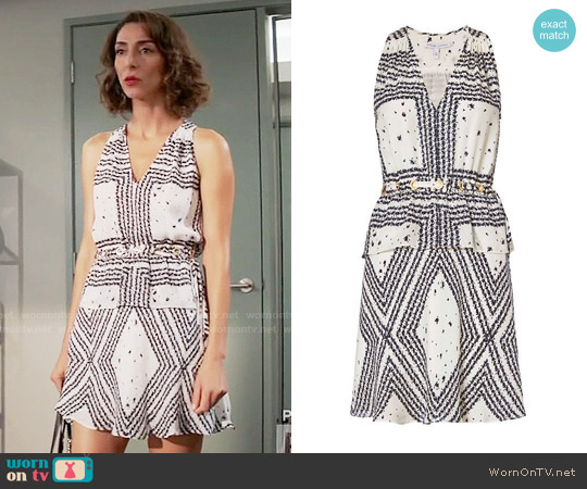 10 Crosby by Derek Lam Grommet Detail V Neck Print Dress worn by Delia (Necar Zadegan) on GG2D