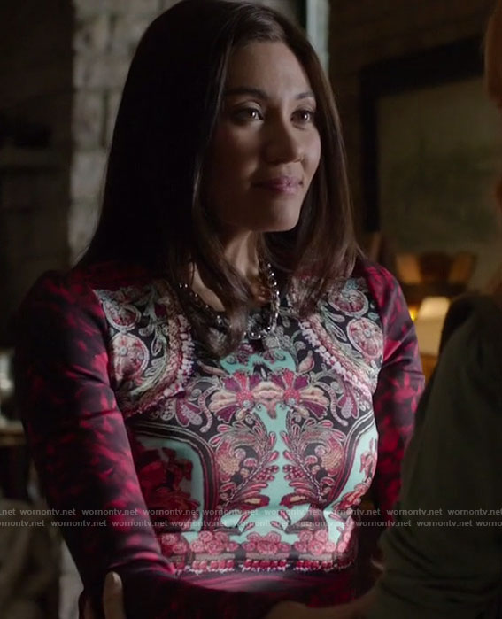 Dot's red printed dress on Shadowhunters
