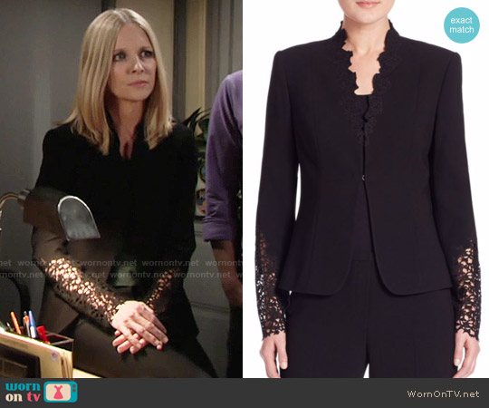 Elie Tahari Corrian Lace Cutout Sleeve Jacket worn by Christine Blair Williams on The Young & the Restless