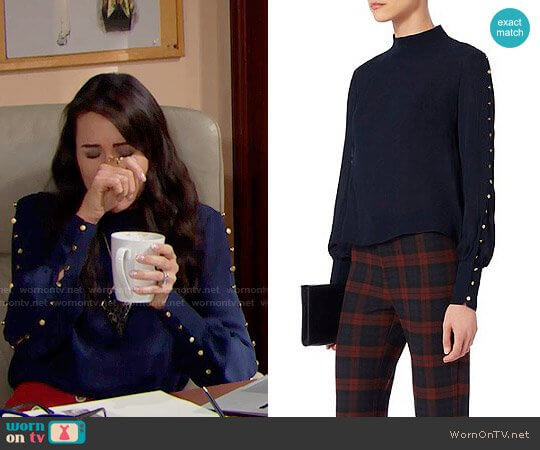 Exclusive for Intermix Candice Button Blouse worn by Rena Sofer on The Bold & the Beautiful