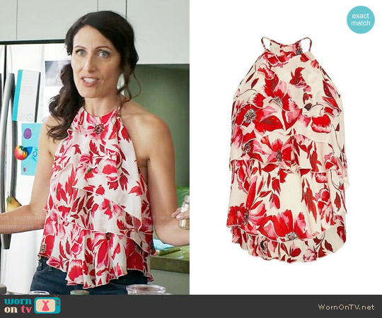 Exclusive for Intermix Essex Silk Print Top worn by Lisa Edelstein on GG2D