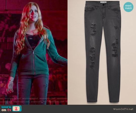 Frame Le Colour Rip Grey Jeans worn by Clary Fray on Shadowhunters
