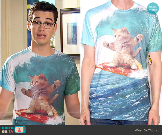 Goodie Pizza Surfing Cat T Shirt worn by Joey Bragg on Liv & Maddie