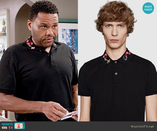 Gucci Cotton Polo with Snake Embroidery worn by Anthony Anderson on Blackish