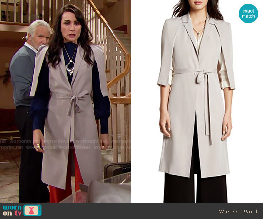 Halston Heritage Cape Trench Coat worn by Quinn Fuller (Rena Sofer) on The Bold & the Beautiful