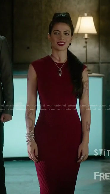 Isabelle's red sleeveless dress on Shadowhunters