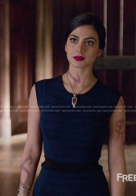 Isabelle's blue striped knit top and skirt on Shadowhunters