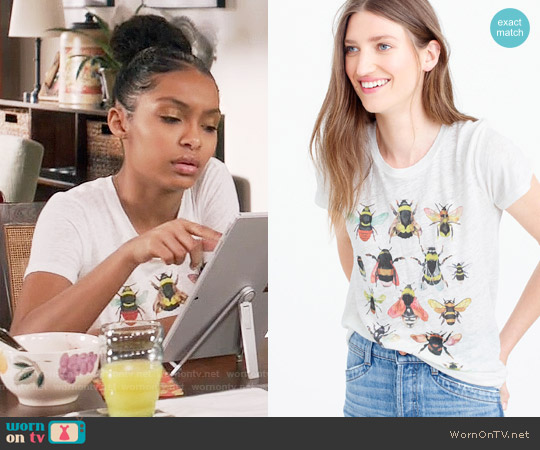J.Crew for the Xerces Society Save the Bees T-shirt worn by Zoey Johnson (Yara Shahidi) on Blackish