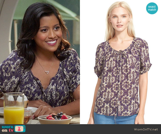 Joie Berkeley Blouse in Regal worn by Vicky (Tiya Sircar) on The Good Place
