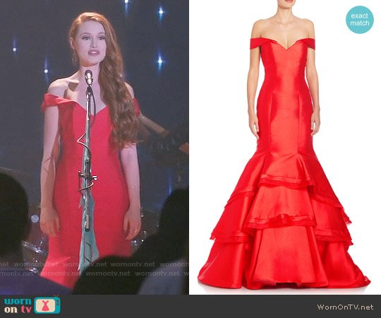 Jovani Fitted Off The Shoulder Dress worn by Cheryl Blossom (Madelaine Petsch) on Riverdale