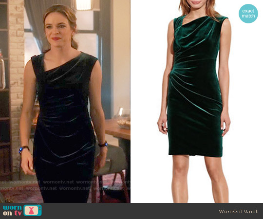 LAUREN Ralph Lauren Stretch Velvet Sheath Dress worn by Danielle Panabaker  on The Flash