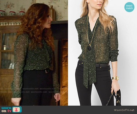 MICHAEL Michael Kors Tweed-Print Chiffon Tie-Neck Blouse worn by Zelena (Rebecca Mader) on OUAT