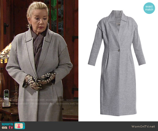 Nina ricci Ribbed-sleeve Wool Coat worn by Melody Thomas-Scott on The Young & the Restless
