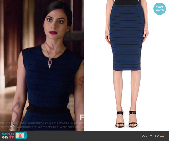 Blue Sashaey Ottoman Knit Midi Skirt by Ted Baker worn by Isabelle Lightwood on Shadowhunters