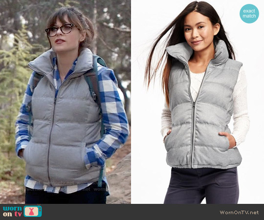 Old Navy Textured Frost Free Vest worn by Jessica Day on New Girl
