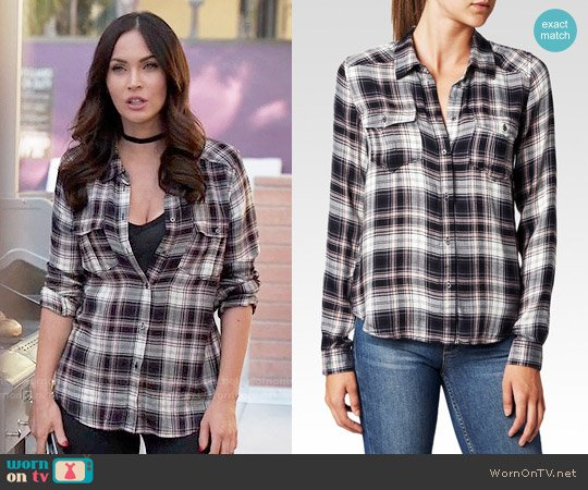 Paige Mya Shirt in Black / Adobe Rose worn by Megan Fox on New Girl