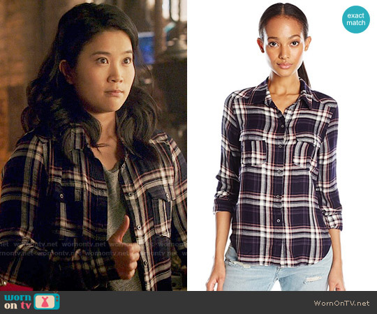 Paige Mya Shirt in Evening Blue / Cream / Ash Rose worn by Happy Quinn (Jadyn Wong) on Scorpion
