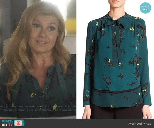 Proenza schouler Floral Silk Tie-neck Blouse worn by Connie Britton on Nashville