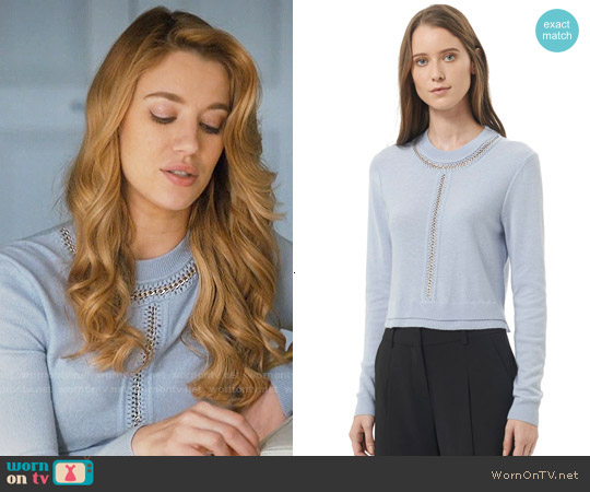Rebecca Taylor Crop Chain Pullover in Icy Blue worn by Petra Solano (Yael Grobglas) on Jane the Virgin