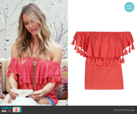 St Roche Off The Shoulder Tassel Top worn by Beau Garrett on GG2D