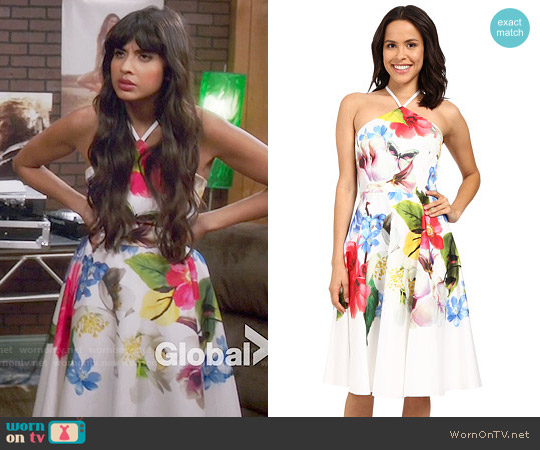 Ted Baker Corpina Forget Me Not Floral Halter-Neck Dress worn by Jameela Jamil on The Good Place