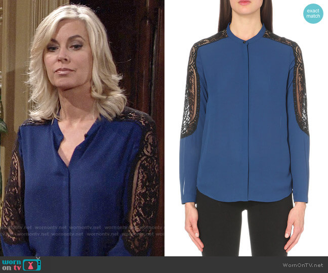 The Kooples Lace-detail woven shirt worn by Eileen Davidson on The Young & the Restless