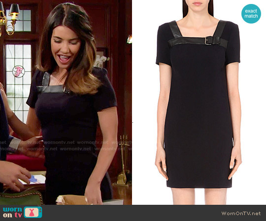 The Kooples Short-sleeved Leather Trim Dress worn by Jacqueline MacInnes Wood on The Bold & the Beautiful