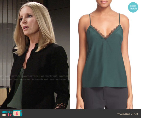 The Kooples Lace Trim Crepe de Chine Camisole worn by Christine Blair Williams (Lauralee Bell) on The Young & the Restless