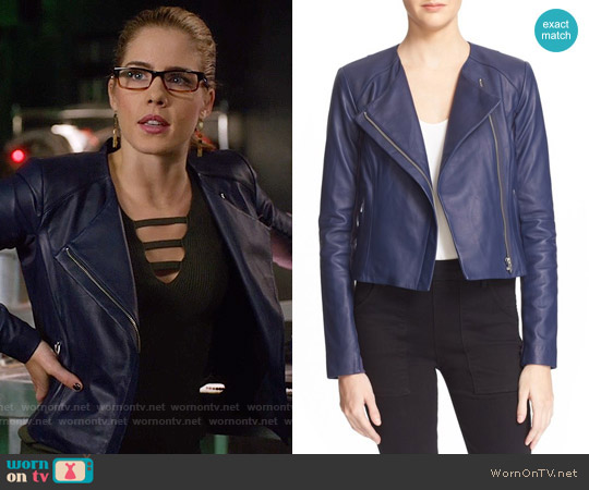 Veda Dali Leather Jacket in Lapis worn by Felicity Smoak (Emily Bett Rickards) on Arrow