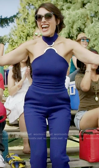 Abby's blue halterneck jumpsuit on Girlfriends Guide to Divorce