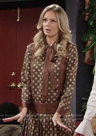 Abby's brown spotted print dress with tie neck on The Young and the Restless