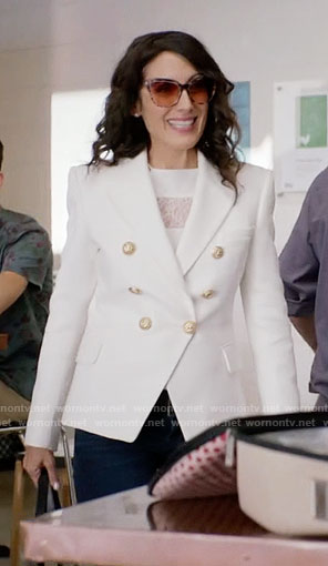Abby's white double breasted blazer on Girlfriends Guide to Divorce