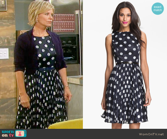 Adrianna Papell Burnout Polka Dot Fit & Flare Dress worn by Mary Beth Evans on Days of our Lives