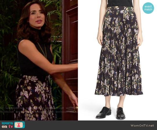 ALC 'Williams' Pleated Floral Print Skirt worn by Ashleigh Brewer on The Bold & the Beautiful