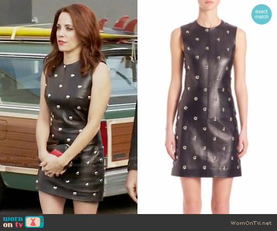 Alexander Wang Studded Leather Dress worn by Alanna Ubach on GG2D