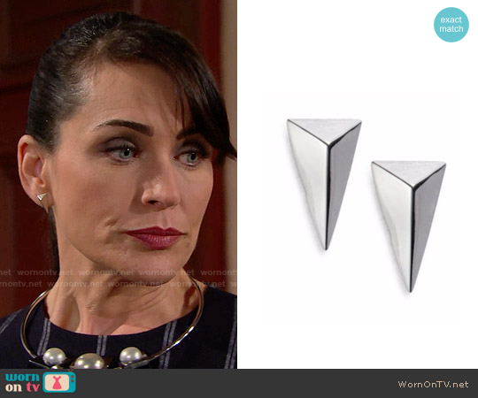 Alexis Bittar Miss Havisham Pyramid Stud Earrings worn by Quinn Fuller on The Bold & the Beautiful