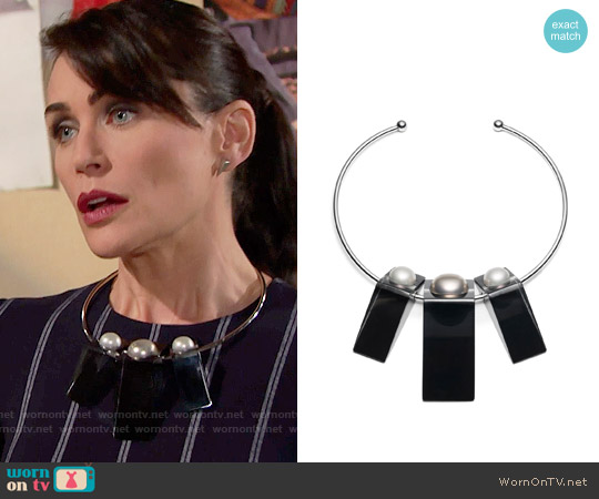 Alexis Bittar Pearl Studded Geometric Collar worn by Quinn Fuller (Rena Sofer) on The Bold & the Beautiful