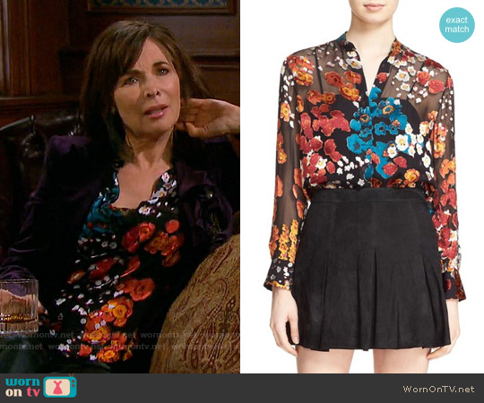 Alice + Olivia 'Belle' Floral Print Sheer Oversize Tunic worn by Kate Roberts (Lauren Koslow) on Days of our Lives
