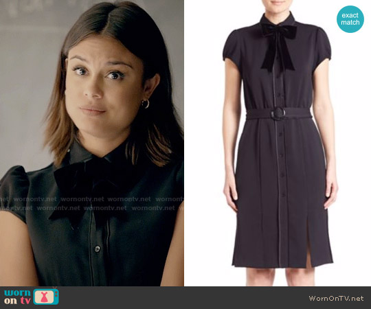 Alice + Olivia Carie Shirtdress worn by Nathalie Kelley on The Vampire Diaries