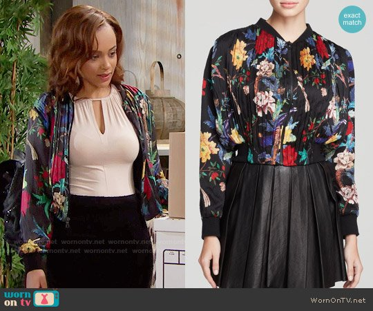 Alice + Olivia Drapey Gathered Crop Jacket by worn by Nicole Avant on The Bold & the Beautiful