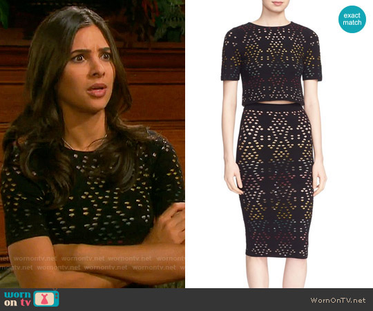 Alice + Olivia Ines Top and Ani Skirt worn by Camila Banus on Days of our Lives
