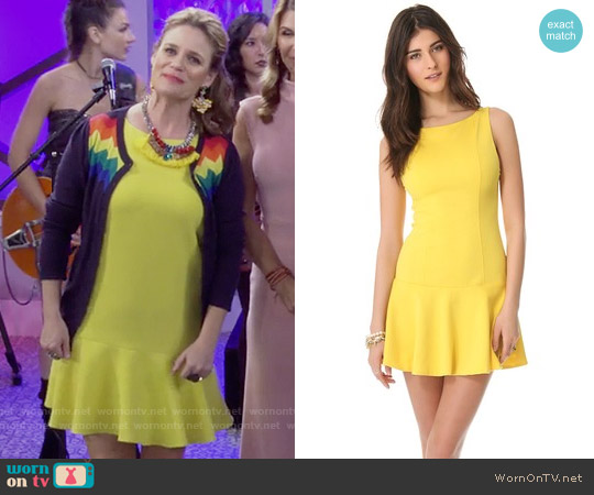 Alice + Olivia Drop Waist Boat Neck Dress worn by Andrea Barber on Fuller House