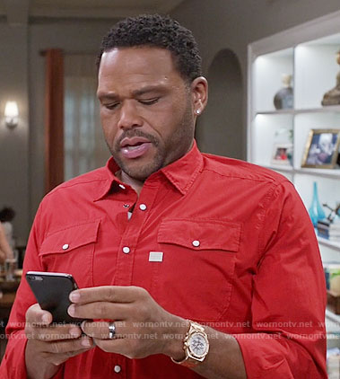 Andre's red button down shirt on Black-ish
