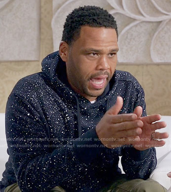 Andre's paint splatter print hoodie on Black-ish