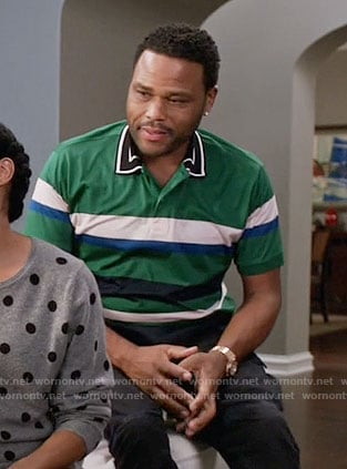 Andre's green striped polo shirt on Black-ish