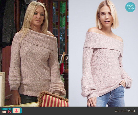 Anthropologie Neves Off-The-Shoulder Pullover worn by Sharon Collins (Sharon Case) on The Young & the Restless